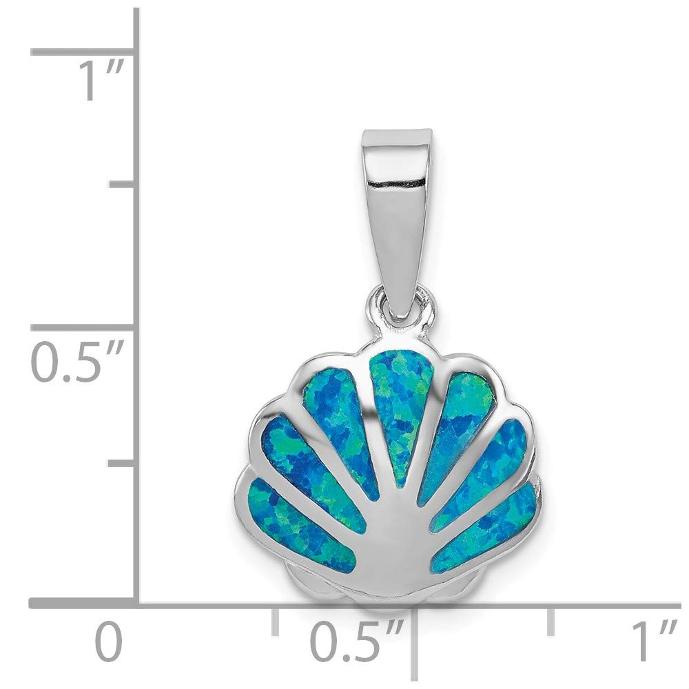 Sterling Silver Rhodium Created Blue Opal Oyster Pendant