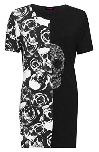 Shirt Mini T Diamante Ladies Sleeve Print Split Womens Skull Short Black Dress Roses Yn6Og