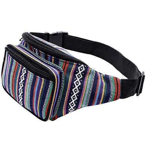 Kayhoma Boho Fanny Pack Stripe Festival Rave Retro Vintage Bum Bags Travel Hiking Waist Belt Purse (Best Bag For Music Festival)