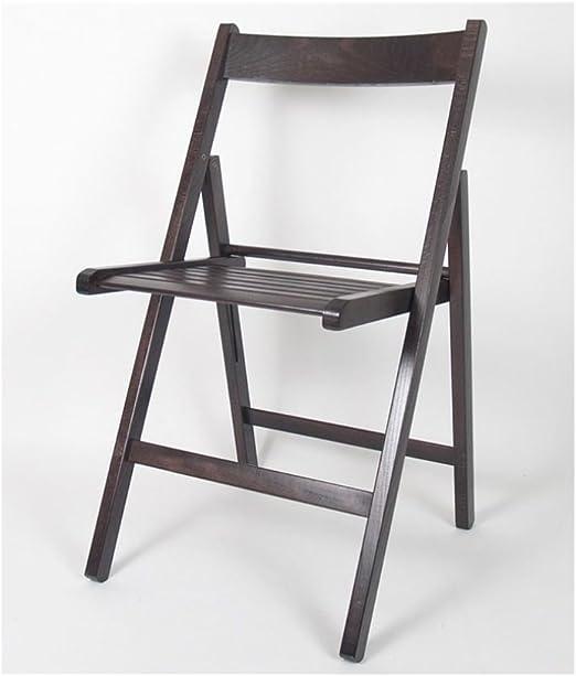 Gerimport Chaise Pliante en Bois wengé 38 x 42 x 87 cm
