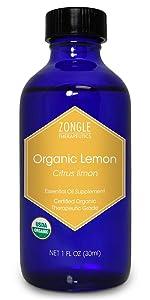 Zongle USDA Certified Organic Lemon Essential Oil, Italian, Safe To Ingest, Citrus Limon, 1 OZ