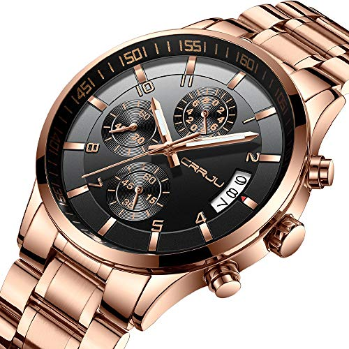 Chronograph Solid Wrist Watch - CRRJU Big Face Sports Chronograph Watch for Men, Waterproof Military WristWatches in Rose Gold Steel Band