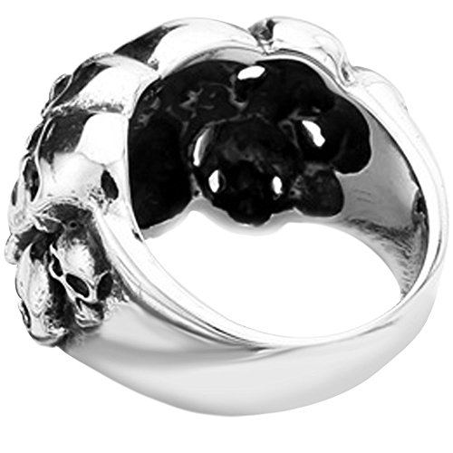 Men's Vintage Classic Gothic Embossed Skull Biker Stainless Steel Ring Band Silver Black Size 10 by MENSO (Image #4)