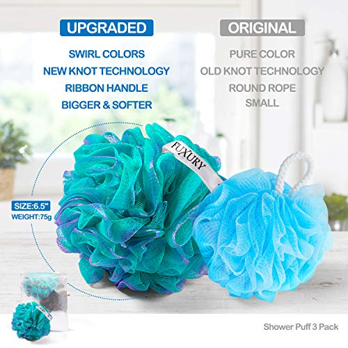 Fuxury 4 pcs Bath Sponges Shower Loofah Swirls Color Set, 3 pcs 75g Mesh Pouf + 1 pcs 20g for Baby or Face Washing