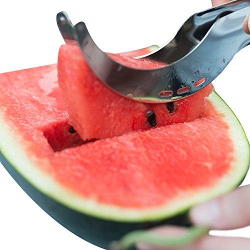 Premium Watermelon Slicer - HOMI Stainless Steel Watermelon Cutter Corer Server Knife with with BONUS Avocado Slicer - Kid Friendly Utensil- Dishwasher Safe
