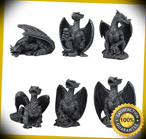 (KARPP Six Faux Stone Gothic Mini Dragons Statue Set Legends and Fantasy Action Dragons Perfect Indoor Collectible Figurines)