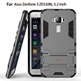 Heartly Asus Zenfone 3 ZE520KL 5.2' Back Cover Graphic Kickstand Hard Dual Rugged Armor Hybrid Bumper Case - Metal Grey