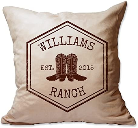Pattern Pop Rustic Ranch Name and Year Throw Pillow