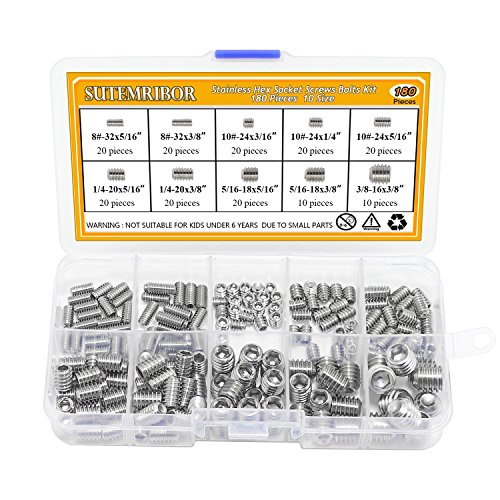 Sutemribor 380Pcs 20 Sizes, 4#-40 to 3/8''-16 Stainless Steel Internal Hex Drive Cup-Point Set Screws Assortment Kit by Sutemribor (Image #2)