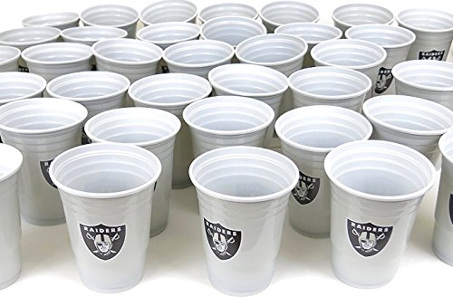 Oakland Raiders 54 party cups barbecue cookout 4th of July Large plastic colorful 18 oz, game day plastic jumbo cups.