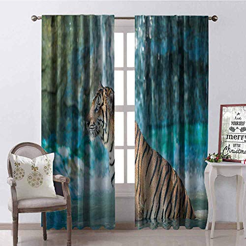 (GloriaJohnson Tiger 99% Blackout Curtains Feline Beast in Pond Searching for Prey Sumatra Indonesia Scenes for Bedroom Kindergarten Living Room W42 x L90 Inch Turquoise Light Brown Black )