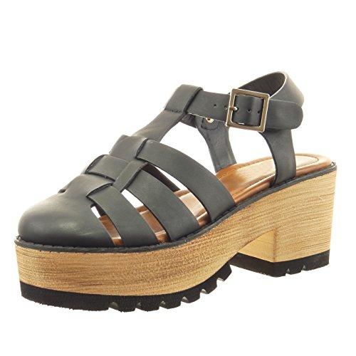 Sopily - Chaussure Mode Sandale plateforme ouverte Cheville femmes bois Talon haut bloc 7 CM - Intérieur synthétique - Noir