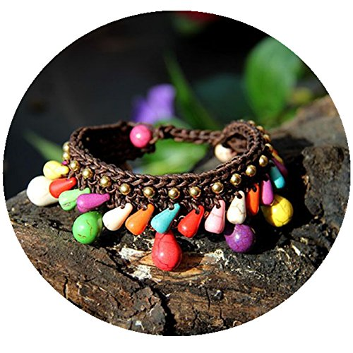 Bohemian Colors Turquoise Water Droplets Wax Leather Handmade Bracelet Womens Hand Chain