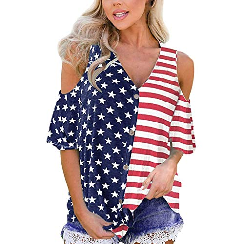 TOOPOOT Summer Tops for Women, Patriotic Stripes Star American Flag Cold Shoulder Button Down Blouse Red