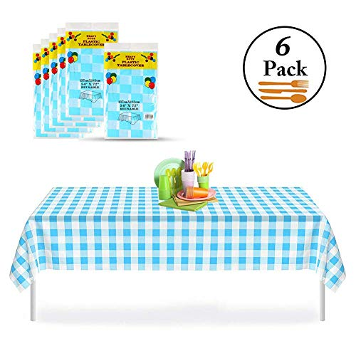 Blue Gingham Checkered 6 Pack Premium Disposable Plastic Picnic Tablecloth 54 Inch. x 72 Inch. Rectangle Table Cover, Indoor or Outdoor Parties Birthdays Weddings -
