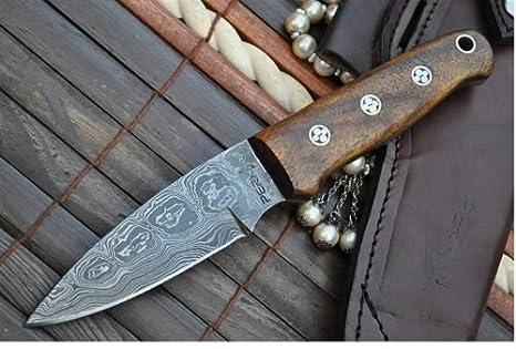 Cuchillo de acero de damasco cuchillo de caza cuchillo bushcraft con afilador de funda