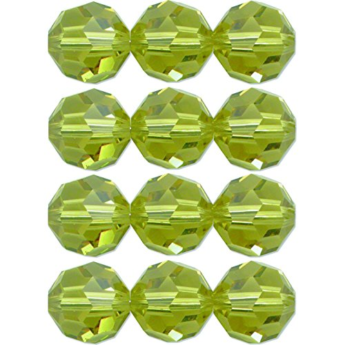 Lime Crystal Bracelet - 12 Lime Round Made With Swarovski Crystal Beads 5000 8mm New
