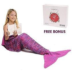 Mermaid Tail Blanket, Amyhomie Mermaid Blanket Adult Mermaid Tail Blanket, Crotchet Kids Mermaid Tail Blanket for Girls (Kids, Rainbow-Pink)