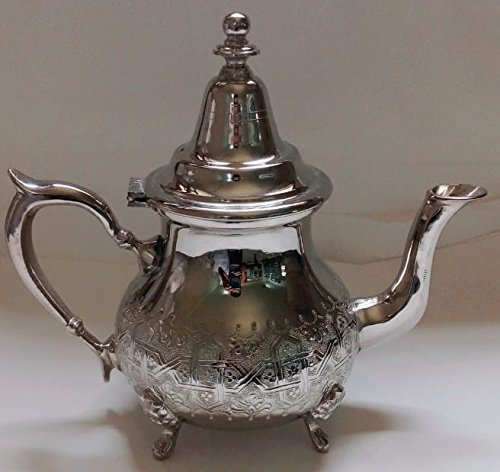 (Moroccan 34oz Large Tea Pot Handmade Brass Silver Plated Hand Carved In Fes)