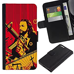 Paccase / Billetera de Cuero Caso del tirón Titular de la tarjeta Carcasa Funda para - Gun Revolution Communism War - Apple Iphone 6 PLUS 5.5