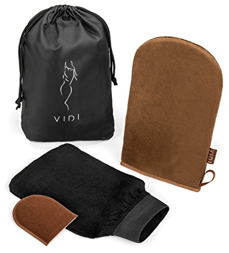 ck (3 Gloves), Large Double Sided Body Applicator Glove for All Over Self-Tan, Face Finger Mitt, Exfoliating Tan Remover Mit by VIDI ()
