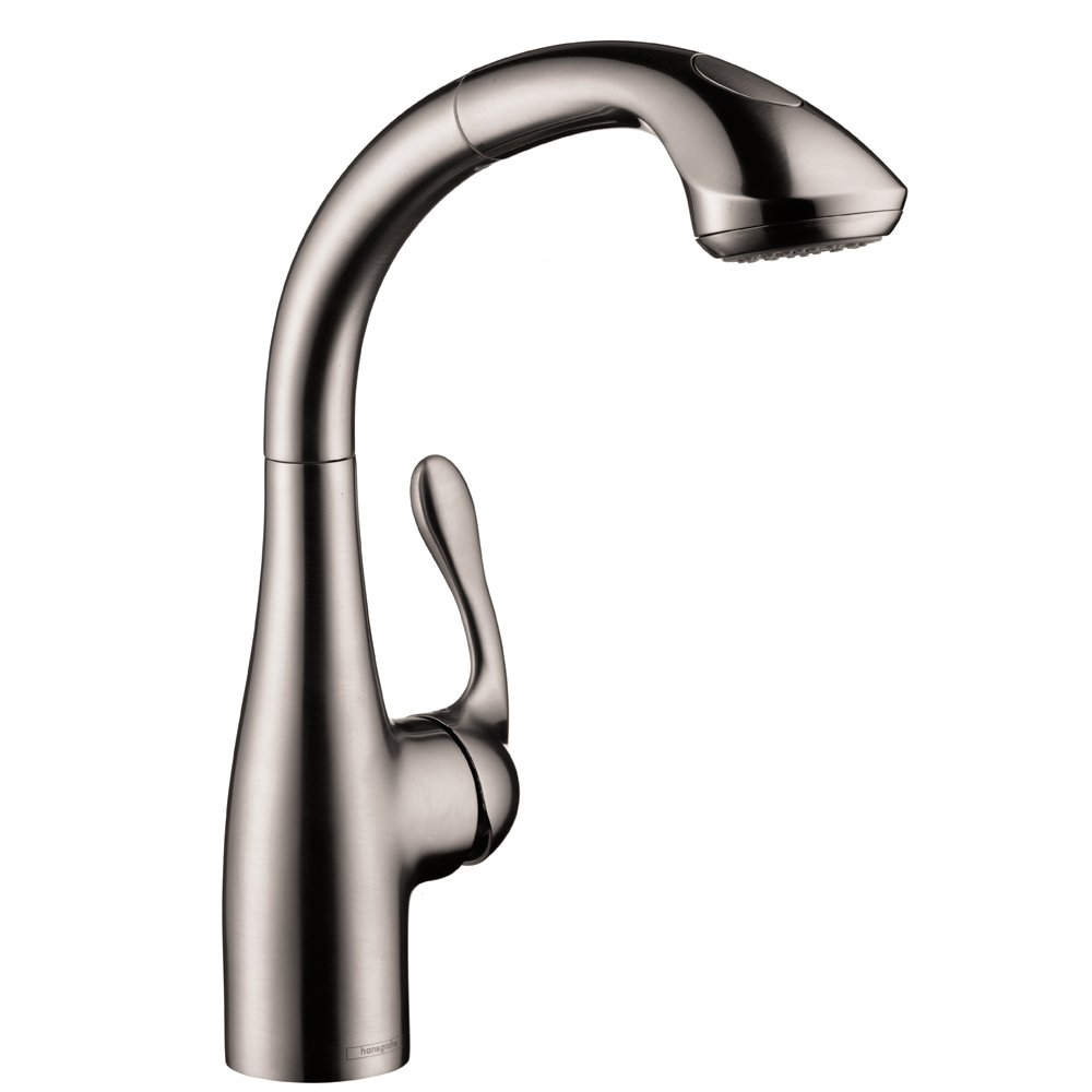 Hansgrohe 06461860 Allegro E Single Hole 2 Spray Semi Arc Kitchen Faucet, Small, Steel Optic