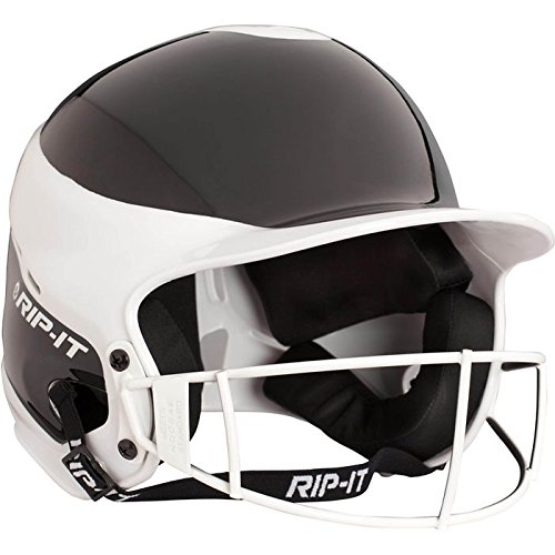 RIP-IT Vision Pro Softball Away Color Helmet with Face Guard – Exceeds NOSCAE Protection Standards – Comfortable and Lightweight with Uninhibited Visibility – Black – Extra (Helmet Colour)