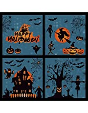 Tuopuda 99 STKS Halloween Raamklampt Stickers 8 Vellen Halloween Vleermuizen Spinnen Dubbelzijdig Verwijderbaar Kasteel Statische Stickers Decal voor Halloween Party Window Decoratie (Zwart)