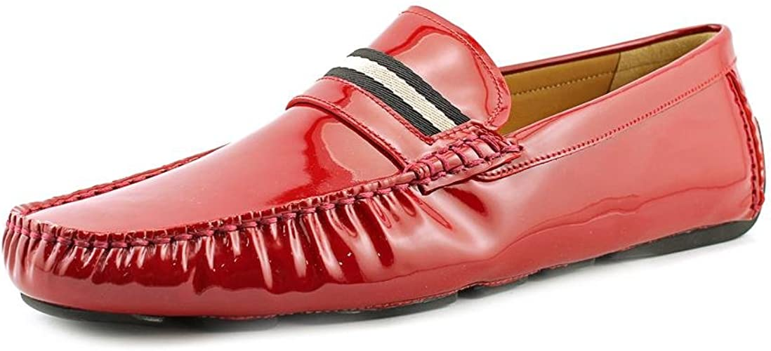 emergencia juego Tres  Bally Wabler Mens Red Leather Loafers Shoes Size UK 12: Amazon.co.uk: Shoes  & Bags