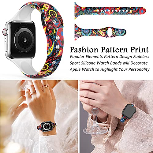 Floral Watch Bands 38mm 40mm Silicone Pattern Printed Sport Compatible with Apple Watch Band Fadeless Thin Replacement Strap for Iwatch Series SE 6/5/4/3/2/1 Pack of 6 Leopard/Peking Opera/Classic Flower/Black/Lotus/Flower/Paw