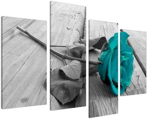 THREE PANEL RETRO FLORAL CANVAS ART TURQUOISE BROWN A1+