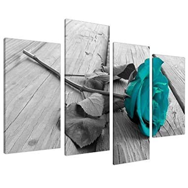 Large Black White Teal Rose Floral Canvas Wall Art Pictures on Grey XL Split Set-Big Modern Flower Prints-Multi Panel Turquoise Artwork,4P Paintings Home Decoration Stretched and Framed Ready to Hang