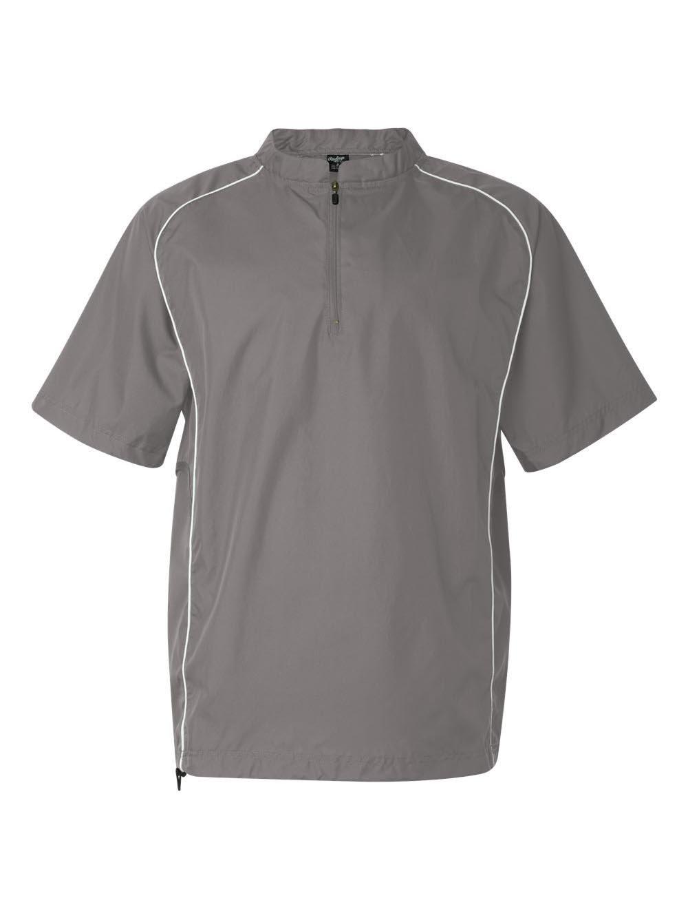 Rawlings Short Sleeve 1/4 Zip Pullover, L, Steel