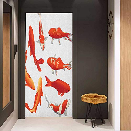 Toilet Door Sticker Koi Fish Legendary Koi Fish Band Chinese Good Fortune and Power Icon Tranquility Image Glass Film for Home Office W35.4 x H78.7 Orange White ()