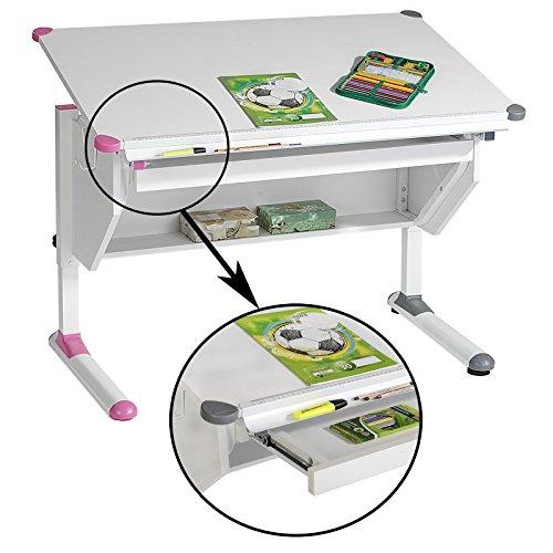 Höhenverstellbarer Kinderschreibtisch Schülerschreibtisch PHILIPP in weiß mit Schublade und Ablage, Wechselkappen rosa und grau