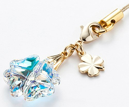 Cell phone Strap 034 four-leaf clover - Crystal Aurora from Kisaragi