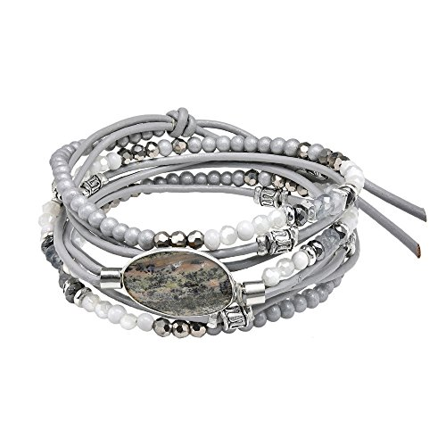AeraVida Organic Grey Labradorite Mix Stones Leather Wrap Multiwear Bracelet