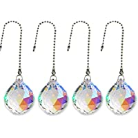 Gusnilo Beauty Crystal AB Crystal Ball Prism 4 Pieces Dazzling Crystal Ceiling FAN Pull Chains (20MM)