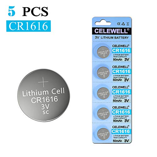 【5-Year Warranty】 CELEWELL CR1616 for Key Fob Remote 50mAh 3V Lithium Coin Cell Batteries 5 Pack