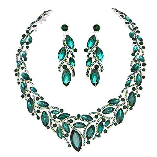 - Youfir Women's Elegant Austrian Crystal Necklace and Earrings Jewelry Set for Wedding Dress (Green)