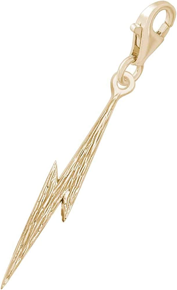 10K Yellow Gold Rembrandt Charms Lightning Charm with Lobster Clasp