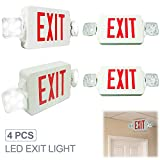 eTopLighting [4 Pack] LED Exit Sign Emergency Light, Angle Adjustable Side Light, Rotatable Head Light, White Body, Red Letter, Top / Side / Installation, AGG2261
