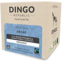 80 Decaf Biodegradable Pods for Nespresso*   Organic Fairtrade Coffee in Compostable Capsules   Swiss Water by Dingo Republic