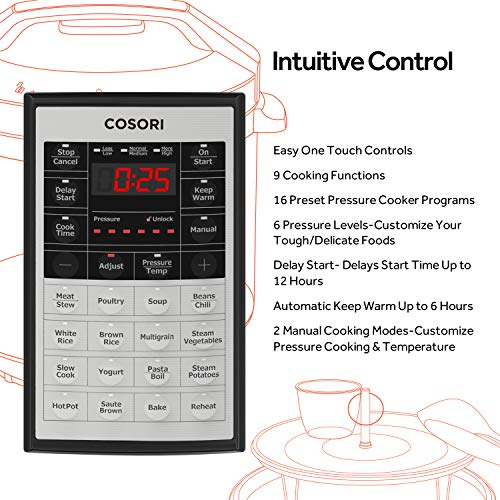 COSORI Upgraded 6 Quart 9-in-1 Programmable Pressure Cooker with 16 Built-In Programs, Stainless Steel Pot & All Cooking Essentials, Slow Cooker,Rice Cooker,Steamer,Sauté,Yogurt Maker,Hot Pot & Warmer by COSORI (Image #5)'