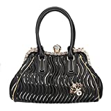 Fawziya Butterfly Spherical Crystal Ball Hand Bags For Women Pu Leather Purse And Bags-Black