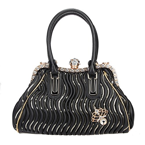 Spherical Butterfly Hand Women Pu Ball Crystal Black Bags Bonjanvye And Purse Leather For w54fRx