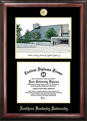 """Campus Images """"Northern Kentucky University Embossed Diploma Frame with Lithograph Print, 8.5"""" x 11"""", Gold"""