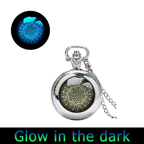 Glowlalaglowing Mandala Watch Pendant Religious Watch Jewelry Sacred Geometry Glowing Pocket Watch Necklace Spiritual Amulet (3) from Laco/1925