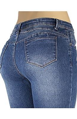 2LUV Women's Butt Lift Enhancing Denim Five Pocket Skinny Jeans