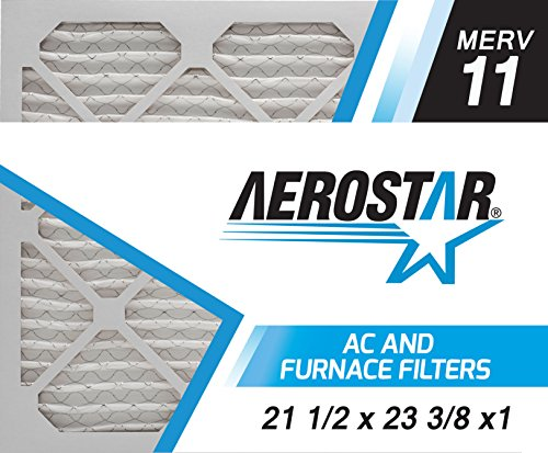Aerostar 21 1/2x23 3/8x1 MERV 11, Pleated Air Filter, 21 1/2 x 23 3/8 x 1, Box of 6, Made in The USA